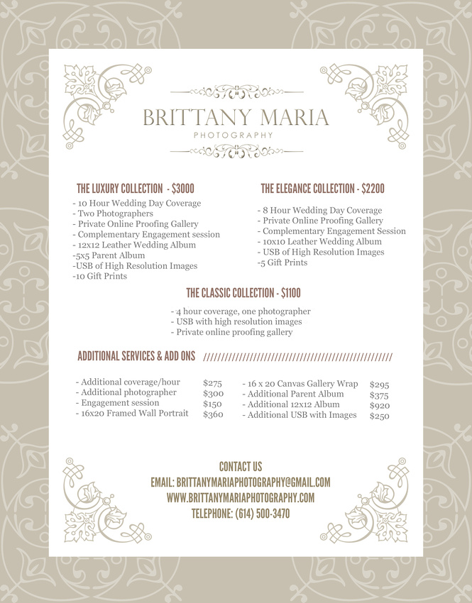 WeddingPriceSheet